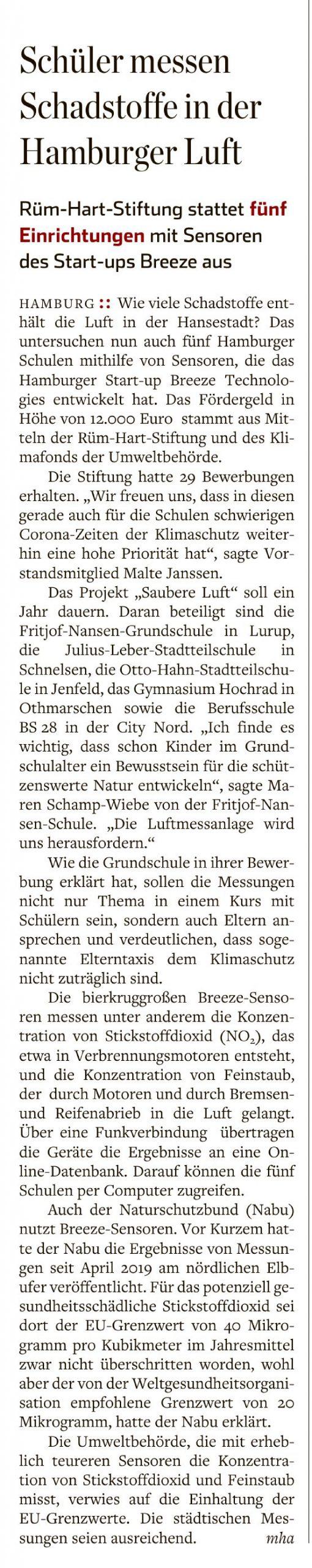 Hamburger Abendblatt 13.07.2020